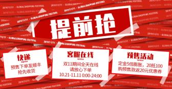 双十一预售活动快递说明电商店铺公告海报banner