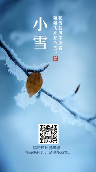 小雪节气实景简约排版手机海报