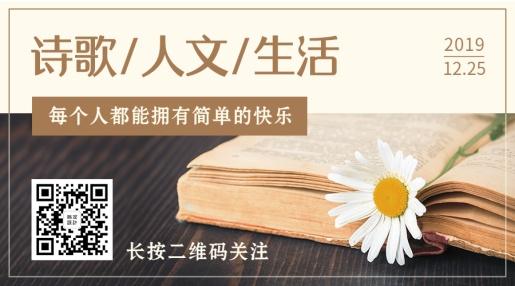 日系简约实景花朵阅读文摘关注二维码