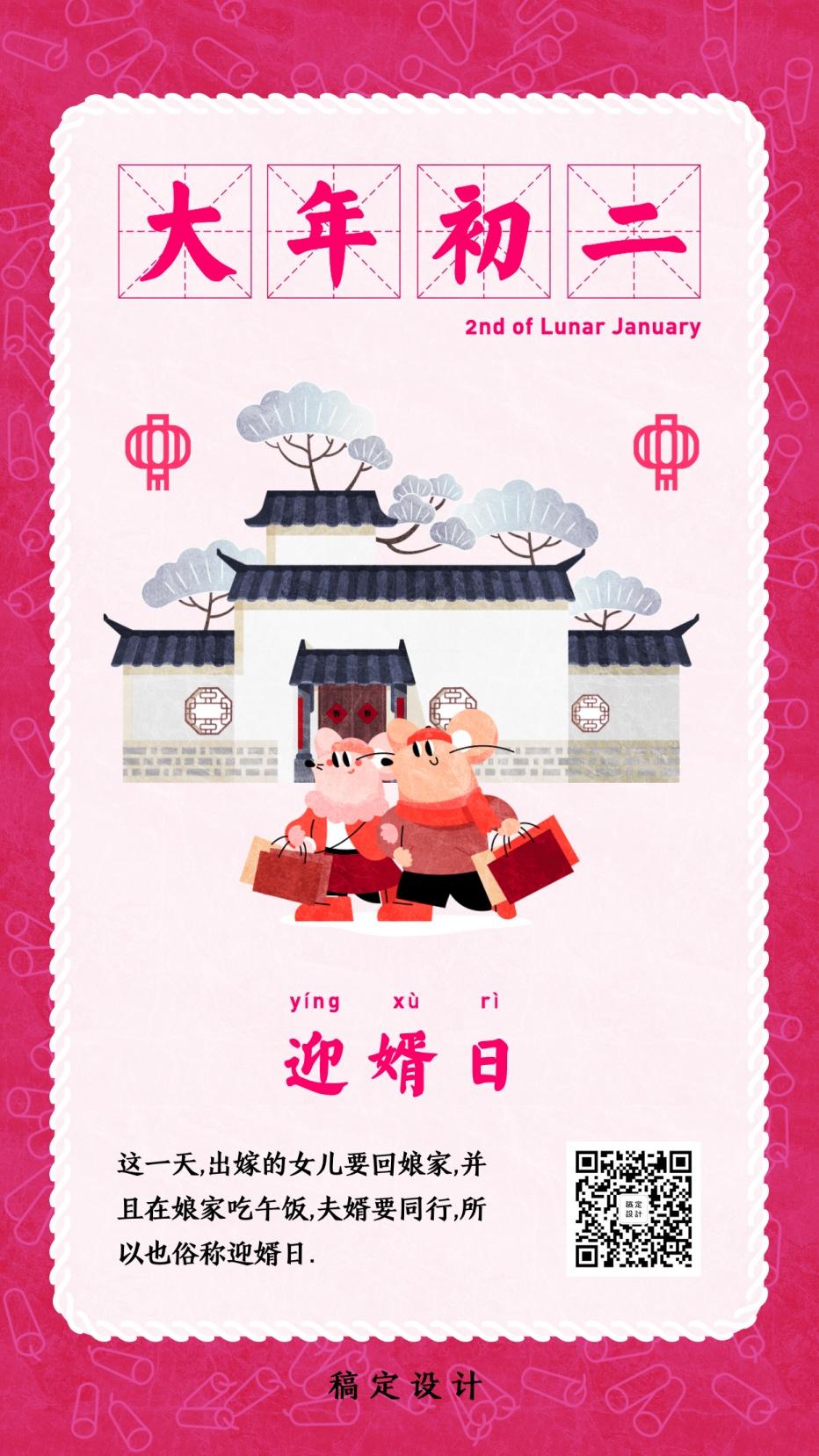 套系春节鼠年大年初二回娘家迎婿日习俗年俗手绘手机海报回娘家