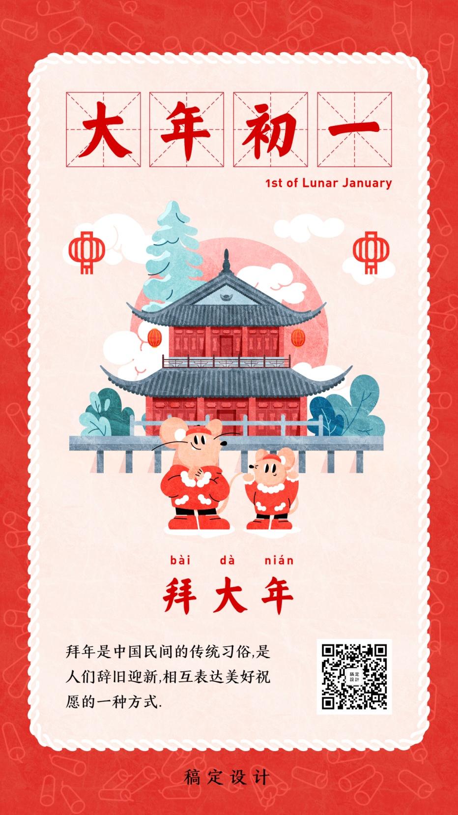 套系春节鼠年大年初一拜年习俗年俗手绘手机海报