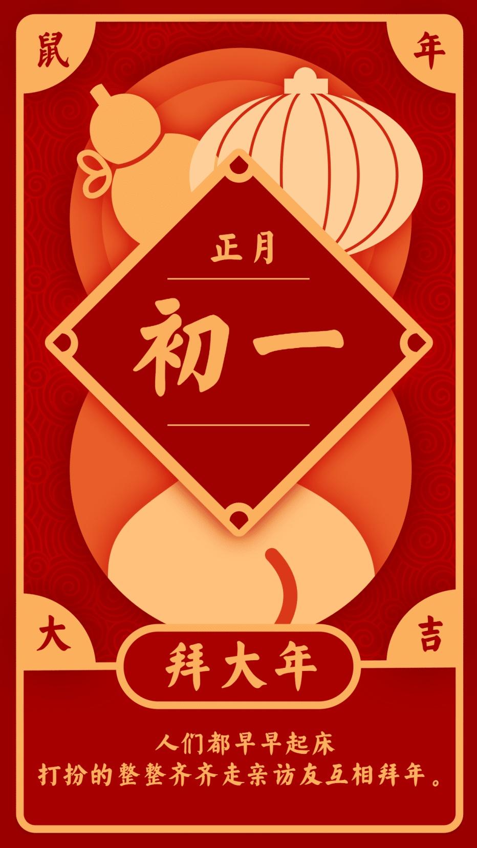 春节习俗/初一/创意中国风/手机海报