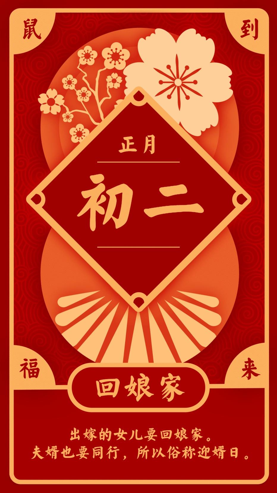 春节习俗/初二/创意中国风/手机海报