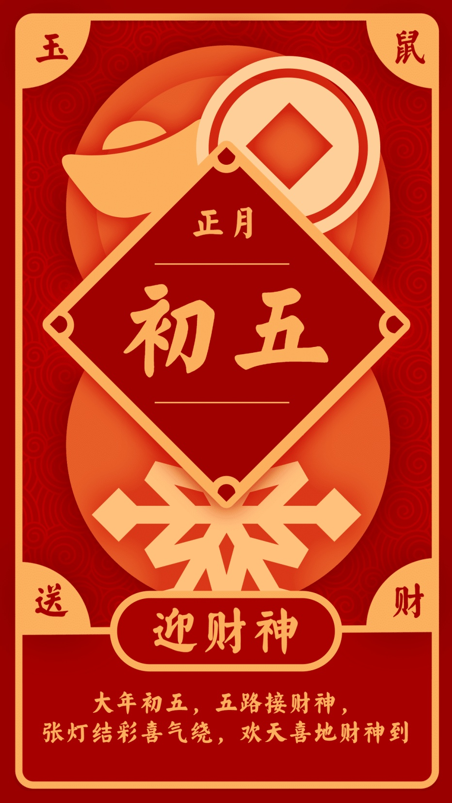 春节习俗/初五/喜庆中国风/手机海报