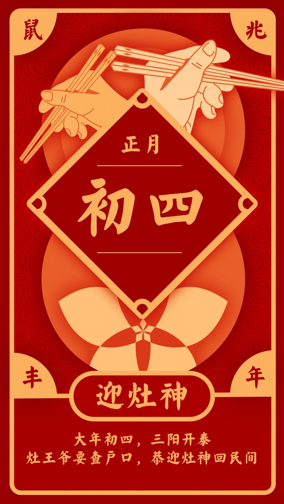 春节习俗/初四/喜庆中国风/手机海报