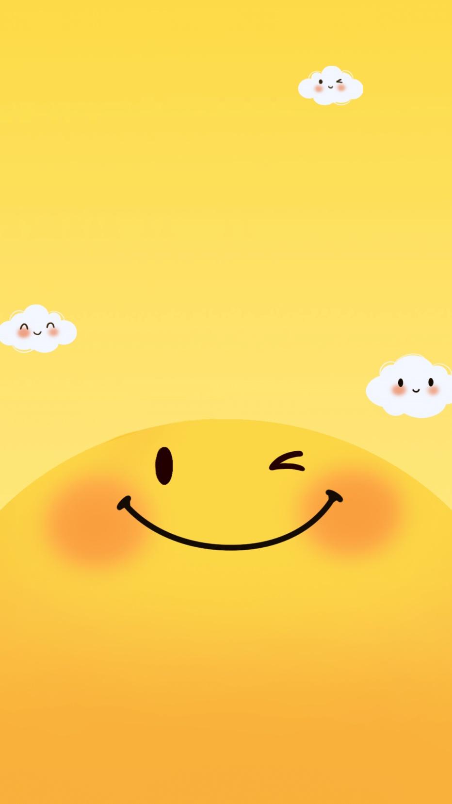 手绘卡通笑脸可爱手机壁纸