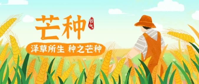 芒种节气稻穗农作插画公众号首图