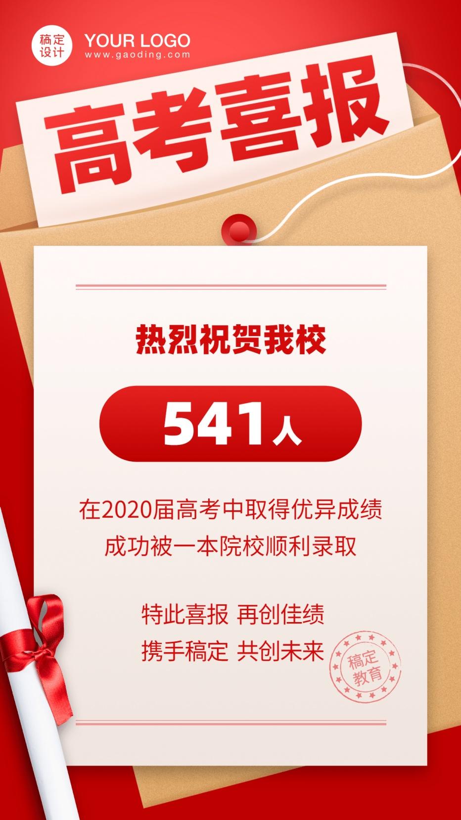 教育机构考试高考喜报手机海报