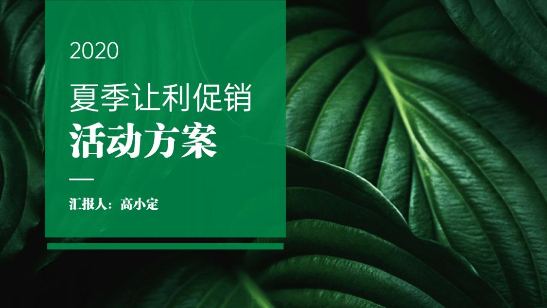 绿色清新夏季让利促销方案PPT