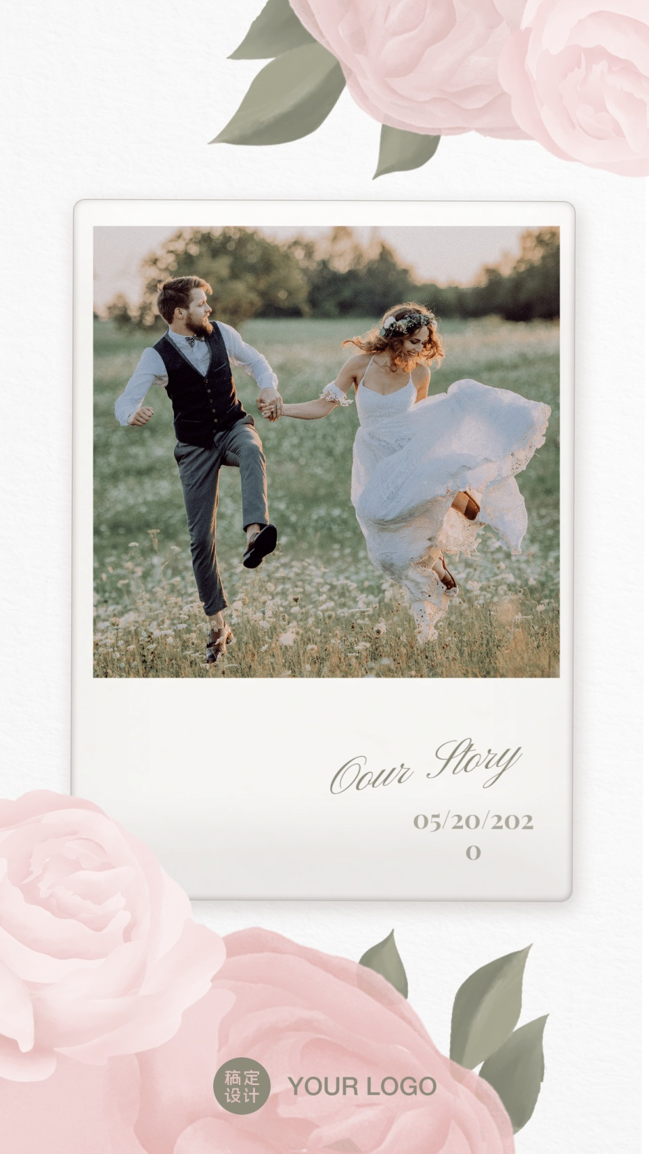 花朵照片拍立得相框纪念婚纱照