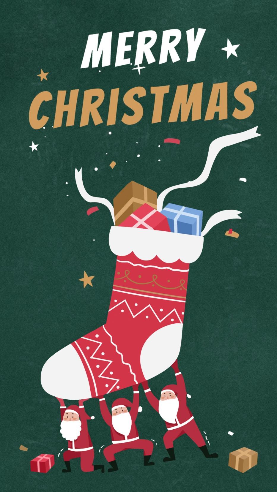 圣诞平安夜祝福手绘插画手机壁纸
