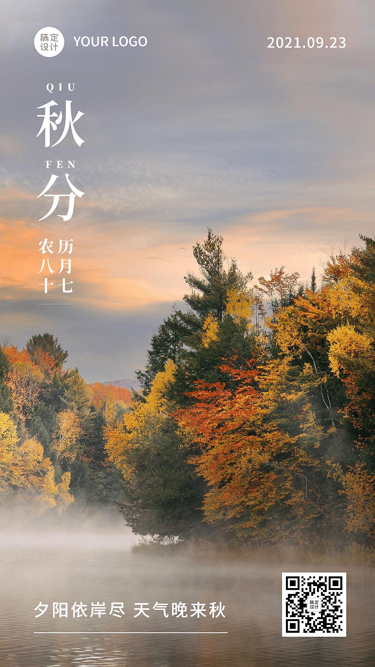 秋分节气实景树林风景手机海报