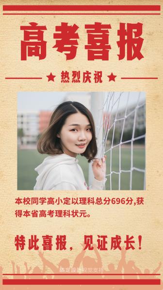 复古喜庆高考成绩海报