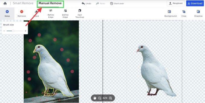 manually remove image background