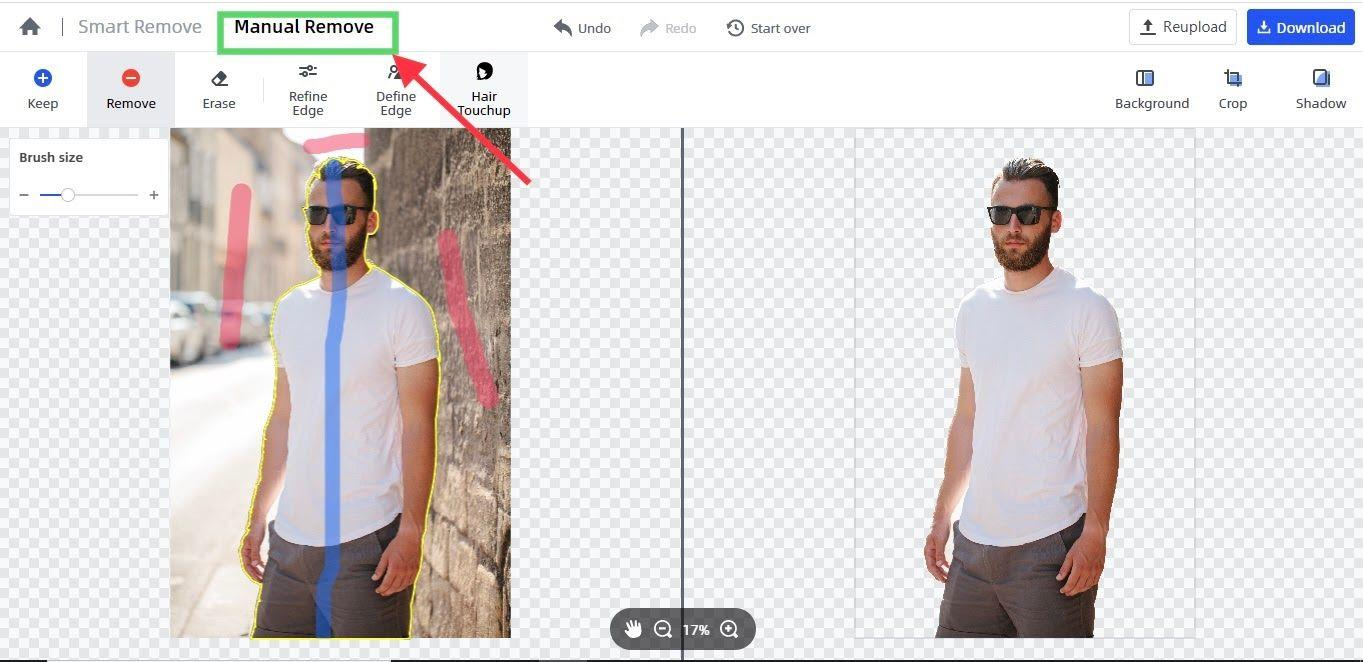 use the manual remove mode of fococlipping