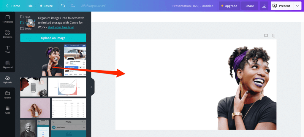 add the image to the Canva panel