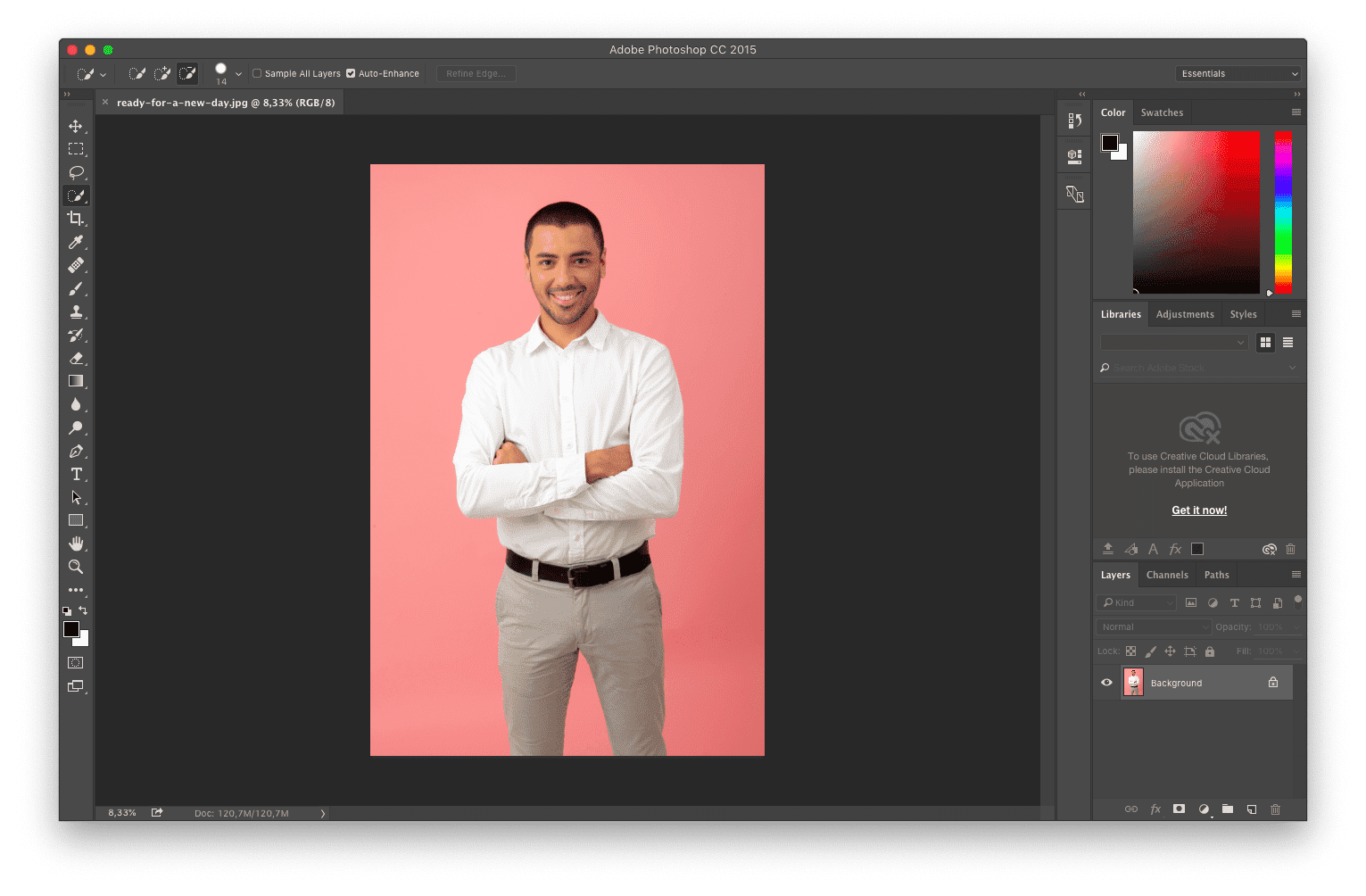 click the upload image button in Photoshop