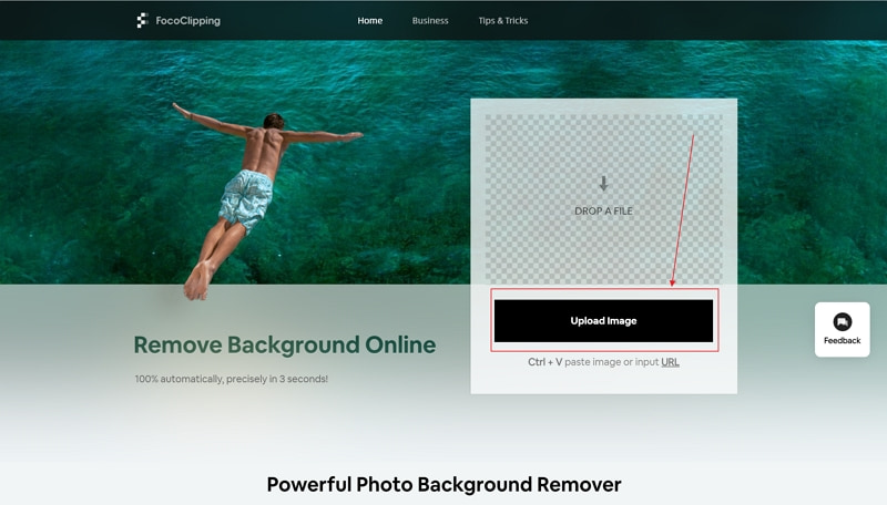 click upload image button