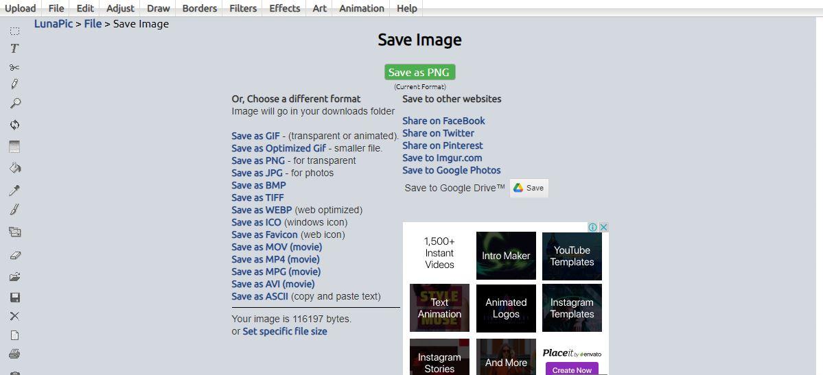lunapic save image