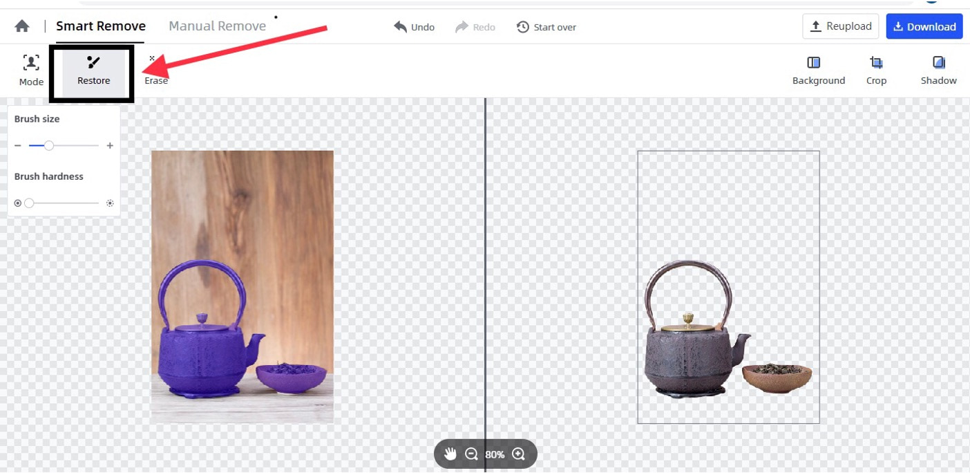 use the restore function to retouch the image