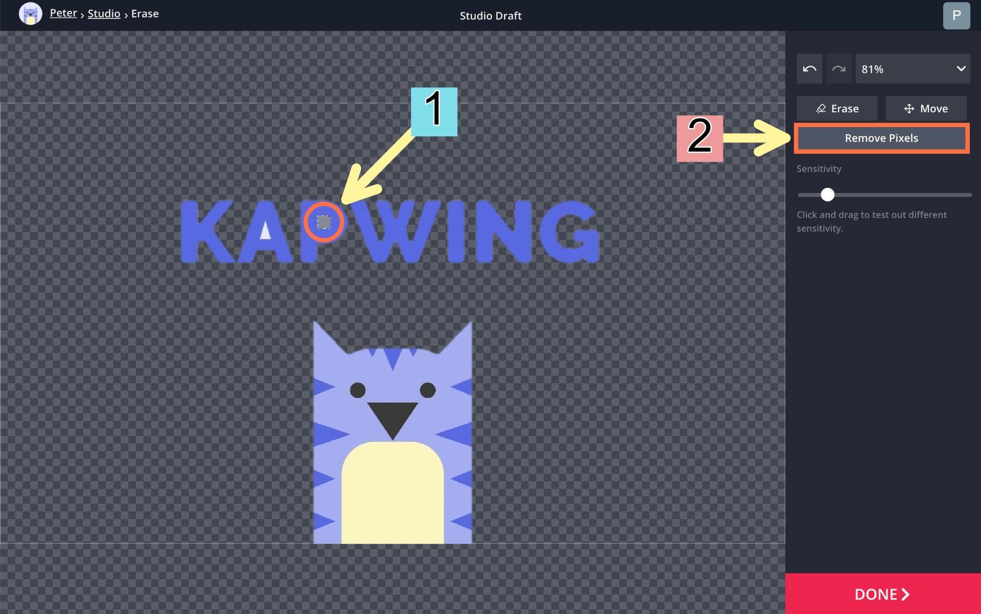 select magic wand tool to remove pixels