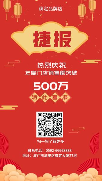 喜报/喜庆中国风/销售表彰/手机海报