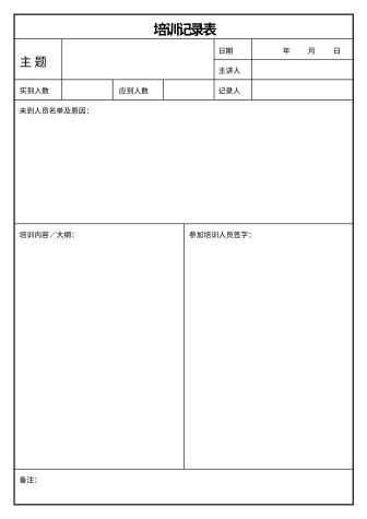 培训记录表