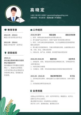 绿色清新通用简历(专业资深)