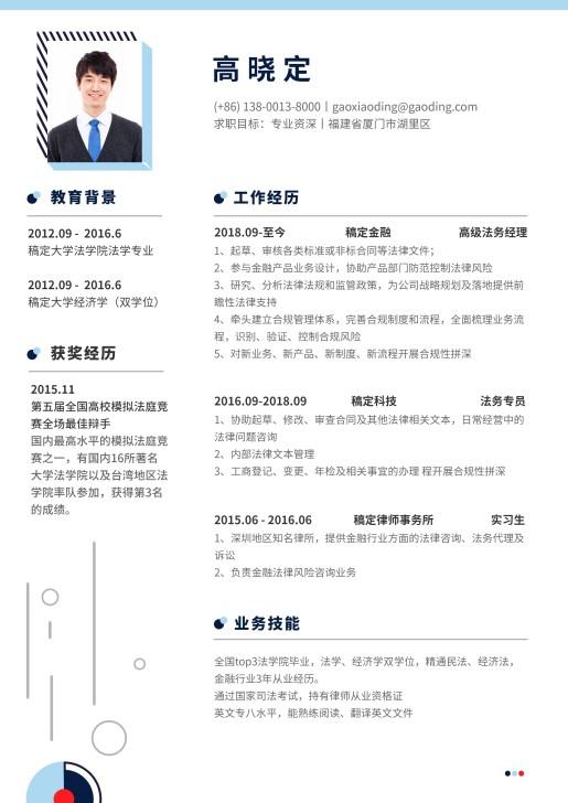 蓝色创意法务简历(专业资深)