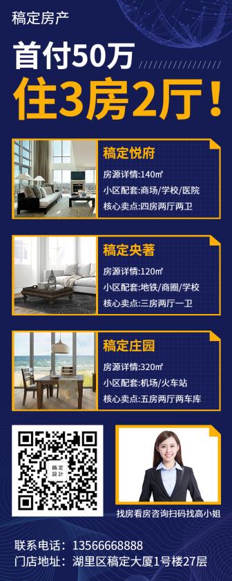 地产家居/房源介绍/商务科技/长图海报