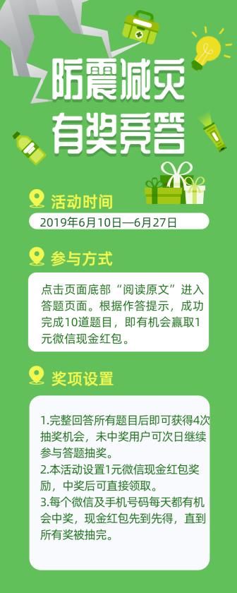 防震减灾有奖竞答/简约/长图海报