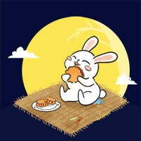 中秋节吃月饼/可爱/公众号次图