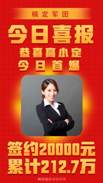 金融保险今日喜报庆贺海报
