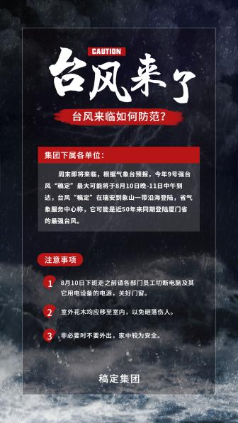 台风来了黑色手机海报
