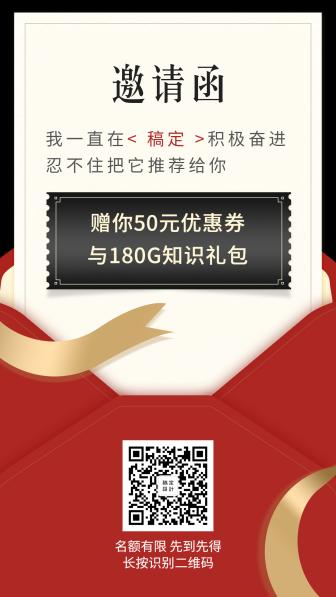 推广邀请函优惠券手机海报