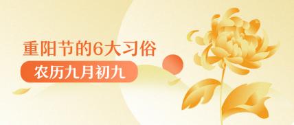 九月九重阳节习俗手绘菊花公众号首图