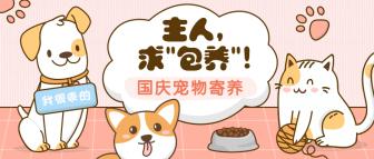 国庆节萌宠宠物店寄养可爱手绘公众号首图