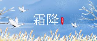 霜降/手绘丹顶鹤清新复古中国风/公众号首图