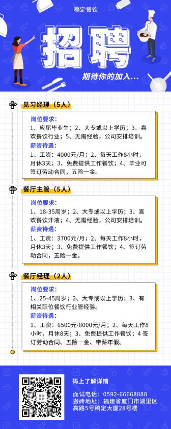 招聘/餐饮美食/简约扁平/营销长图