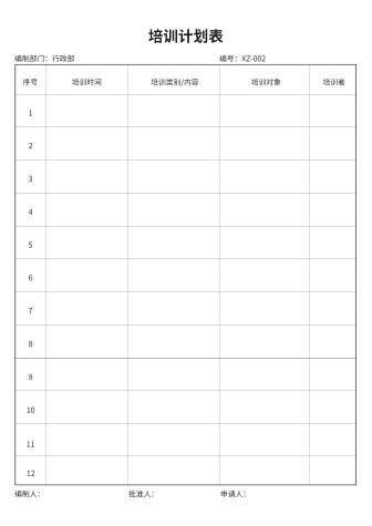 培训计划表