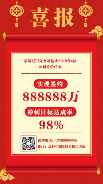 简约喜庆/喜报捷报/手机海报