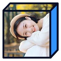 实景女生潮流时尚蓝色立体方框公众号次图