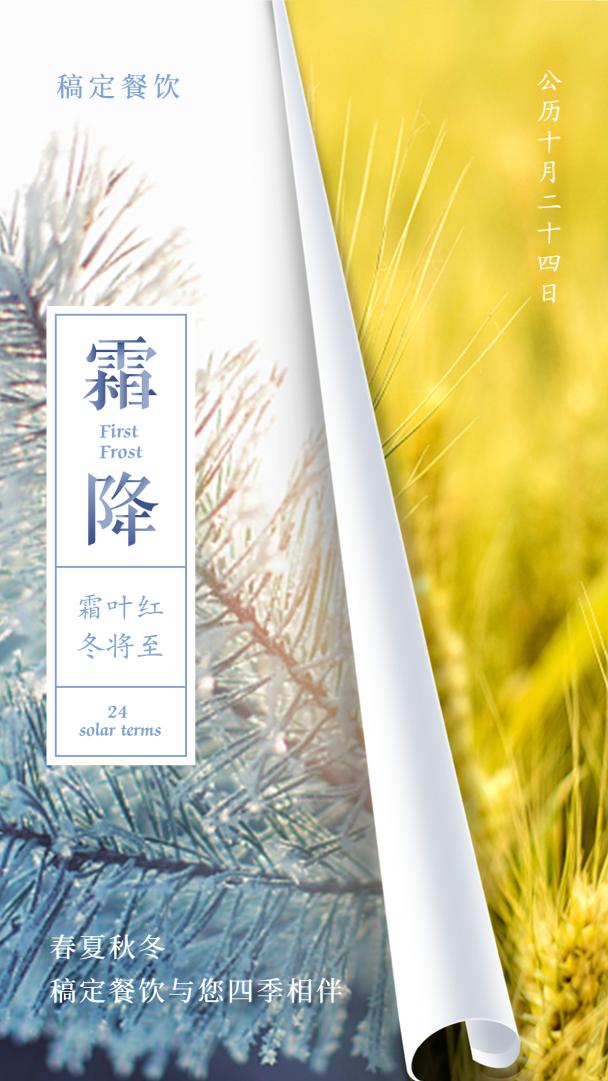 霜降/24节气/清新文艺/手机海报