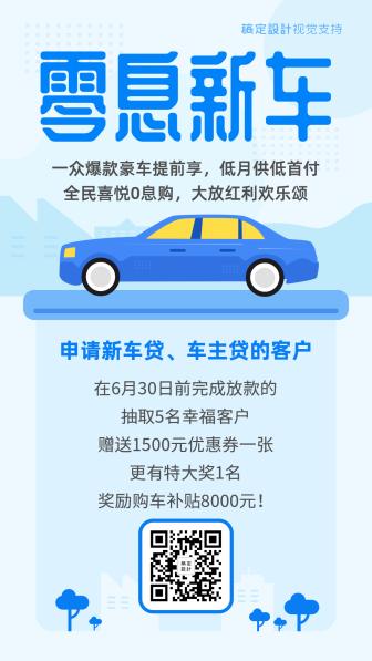 卡通清新车贷保险海报