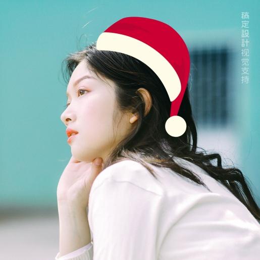 圣诞头像 卡通圣诞帽侧面