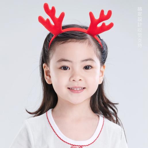 圣诞头像 红色鹿角头饰