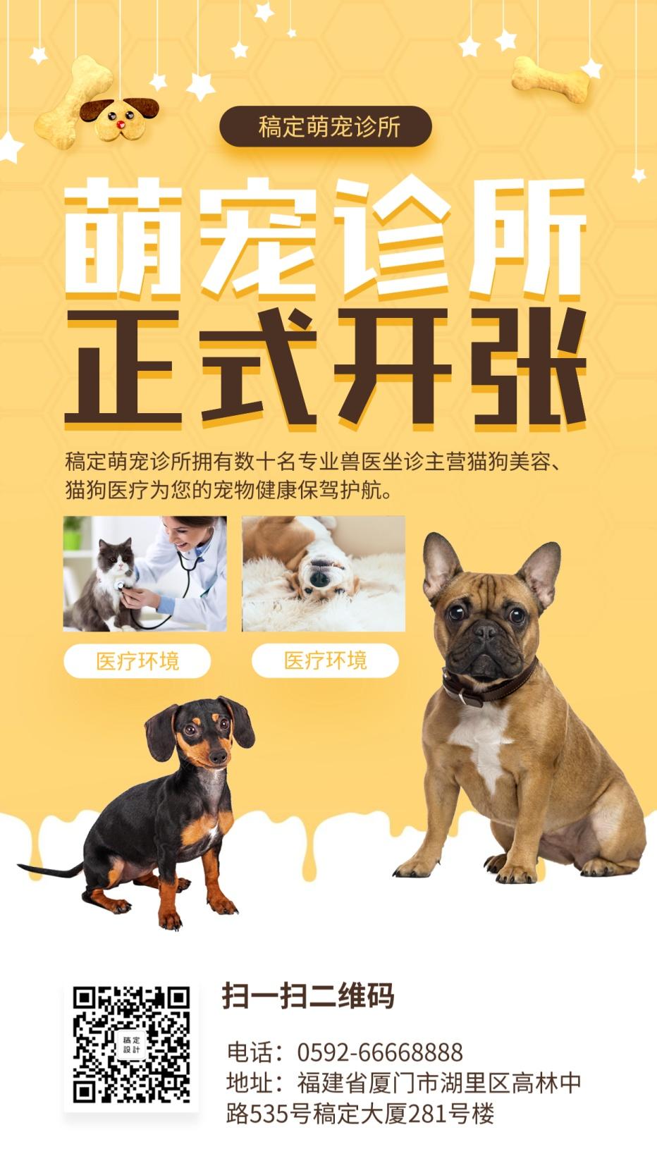 宠物/新店开业/卡通可爱/手机海报