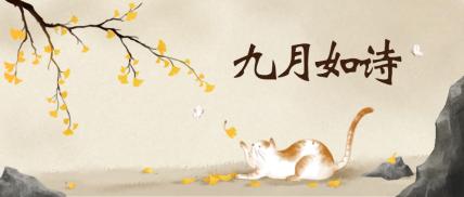 九月插画小清新猫宠物公众号首图
