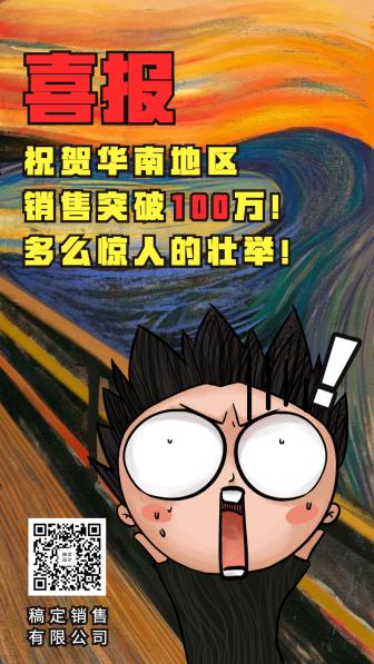 战报创意恶搞名画喜报宣传手机海报
