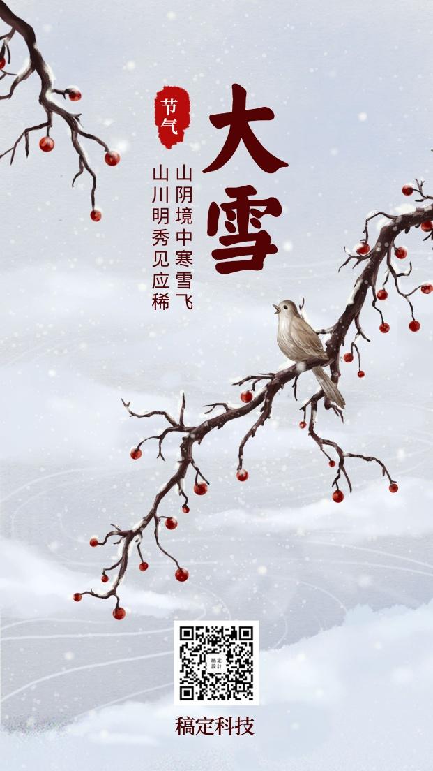 大雪节气中国风梅花手绘插画手机海报